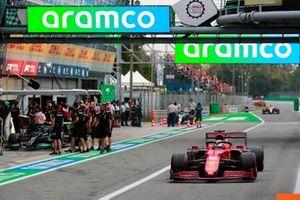 Charles Leclerc, Ferrari SF21, in the pit lane