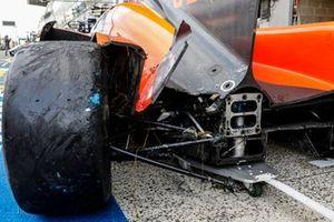 Detalle de los daños del #25 G-Drive Racing Aurus 01 - Gibson LMP2, John Falb, Roberto Merhi, Rui Andrade