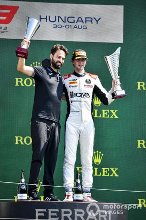 Lorenzo Colombo, Campos Racing celebrates on the podium with the trophy