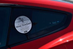 Decal on pace car for Mose Nowland Ford
