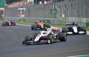 Mick Schumacher, Haas VF-21, George Russell, Williams FW43B ,and Daniel Ricciardo, McLaren MCL35M