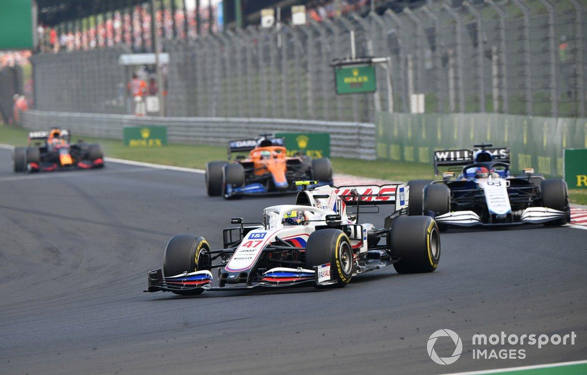 Mick Schumacher, Haas VF-21, George Russell, Williams FW43B ,Daniel Ricciardo, McLaren MCL35M