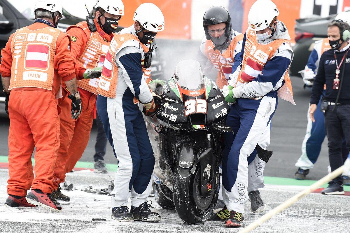 Moto de Lorenzo Savadori, Aprilia Racing Team Gresini tras el incendio