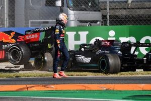 Max Verstappen, Red Bull Racing, looks on Lewis Hamilton, Mercedes W12 after colliding