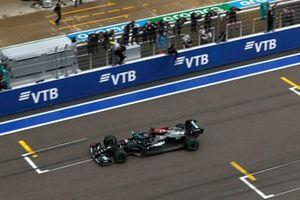 Lewis Hamilton, Mercedes W12, 1st position, takes victory