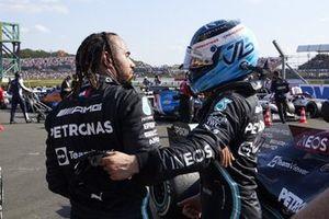 Valtteri Bottas, Mercedes, 3rd position, congratulates Lewis Hamilton, Mercedes, 1st position, in Parc Ferme