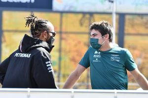 Lewis Hamilton, Mercedes W12 Lance Stroll, Aston Martin AMR21 Driver's parade