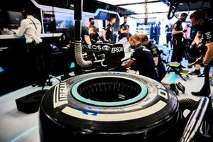 Pirelli tyre in Mercedes garage