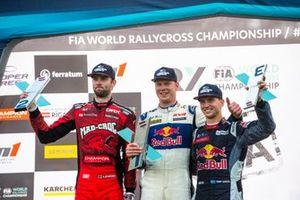 Podium : Le vainqueur Johan Kristoffersson, KYB EKS JC Audi S1, le deuxième Niclas Grönholm, GRX-SET World RX Team Hyundai i20, le troisième Timmy Hansen, Hansen World RX Team Peugeot 208