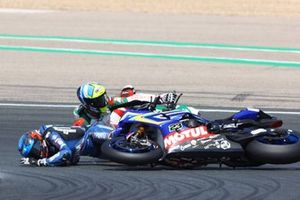 Sturz: Leandro Mercado, MIE Racing Honda Team, Christophe Ponsson, Gil Motor Sport - Yamaha