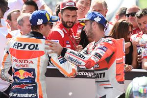 Second place Marc Marquez, Repsol Honda Team, third place Andrea Dovizioso, Ducati Team