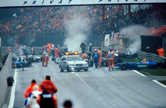 The aftermath of one of the worst ever F1 Crashes
