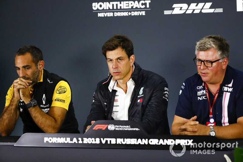 Cyril Abiteboul, Managing Director, Renault Sport F1 Team, Toto Wolff, Mercedes AMG F1 Director of Motorsport, Otmar Szafnauer, Racing Point Force India Team Principal