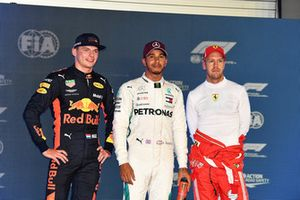 Max Verstappen, Red Bull Racing, Lewis Hamilton, Mercedes AMG F1 y Sebastian Vettel, Ferrari celebran en parc ferme