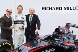 Jenson Button, McLaren, Ron Dennis, Presidente e CEO McLaren Technology Group e Richard Mille, Presi