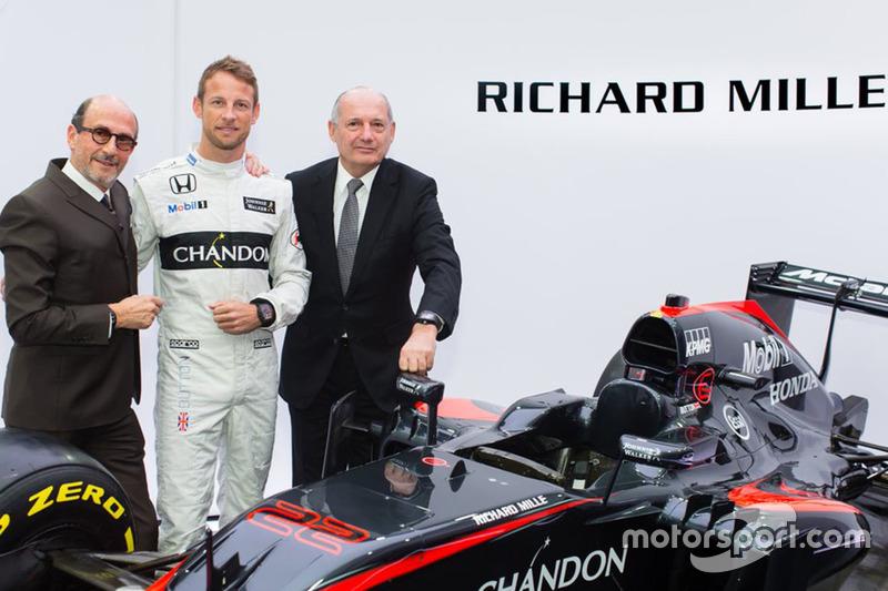 Jenson Button, McLaren, Ron Dennis, Presidente e CEO McLaren Technology Group e Richard Mille, Presi