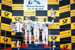 Podium: Race winner Robert Wickens, Mercedes-AMG Team HWA, Mercedes-AMG C63 DTM; second place Paul Di Resta, Mercedes-AMG Team HWA, Mercedes-AMG C63 DTM; third Gary Paffett, Mercedes-AMG Team ART, Mercedes-AMG C63 DTM. 20.08.2016, DTM Round 6, Moscow Raceway, Russia, Saturday. - www.xpbimages.com, EMail: requests@xpbimages.com - copy of publication required for printed pictures. Every used picture is fee-liable. © Copyright: Safronov / XPB Images