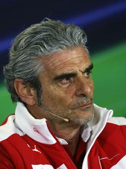 Maurizio Arrivabene, Team Principal Ferrari lors de la conférence de presse