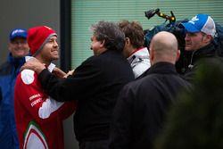 Sebastian Vettel, Ferrari with Pasquale Lattuneddu of the FOM