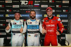 Press Conference: Polesitter Stefano Comini, Leopard Racing, Volkswagen Golf GTI TCR; second Jean-Karl Vernay, Leopard Racing, Volkswagen Golf GTI TCR; third Pepe Oriola, Team Craft-Bamboo, SEAT León TCR