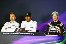 The post qualifying FIA Press Conference: Nico Rosberg, Mercedes AMG F1, second; Lewis Hamilton, Mercedes AMG F1, pole position; Nico Hulkenberg, Sahara Force India F1, third