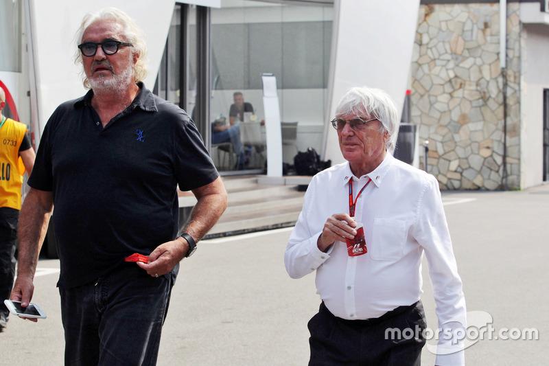 (Da sx a dx): Flavio Briatore, con Bernie Ecclestone