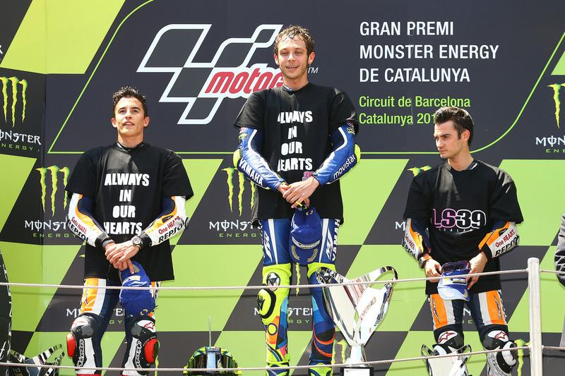 Podio: 1º Valentino Rossi, 2º Marc Márquez, 3º Dani Pedrosa
