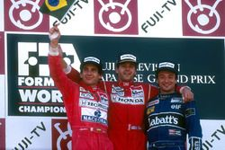 Podium: Race winner Gerhard Berger, McLaren, second place and Worldchampion Ayrton Senna, McLaren; t