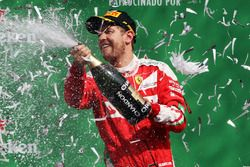 Sebastian Vettel, Ferrari celebrates his third position on the podium