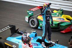 Sébastien Buemi, Renault e.Dams, celebrates after winning the race