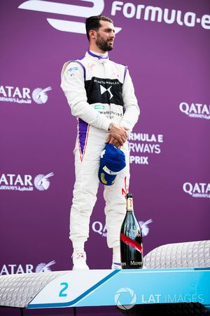 Jose Maria Lopez, DS Virgin Racing, festeggia sul podio