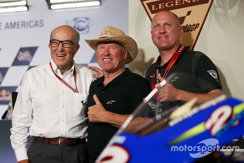 Carmelo Ezpeleta, CEO of Dorna Sports, Kenny Roberts Sr., Kenny Roberts Jr.