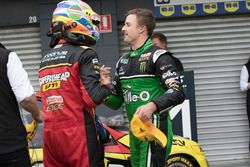 Race winner Chaz Mostert, Rod Nash Racing Ford, second place Mark Winterbottom, Prodrive Racing Aust