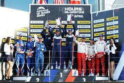 LMP3 Podium: first place John Falb, Sean Rayhall, United Autosports, second place Terrence Woodward, Ross Kaiser, Tony Wells, 360 Racing, third place Matthieu Lahaye, Jean Baptiste Lahaye, François Heriau, Ultimate