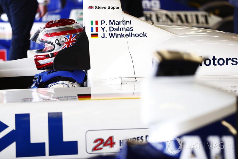 Steve Soper sits in the cockpit of the 1999 Le Mans-winning BMW