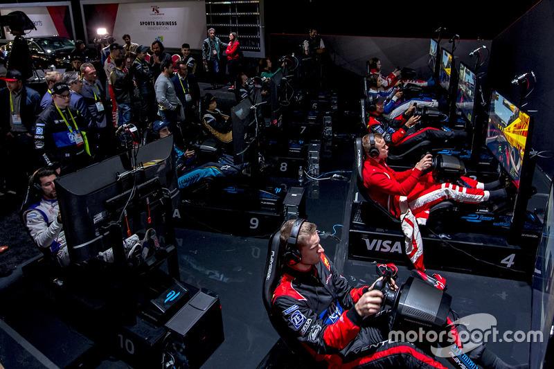 Formula E drivers on the simulators