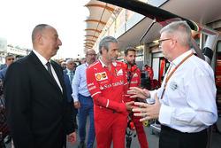 Illham Aliyev, President of Azerbaijan, Maurizio Arrivabene, Ferrari Team Principal and Ross Brawn,