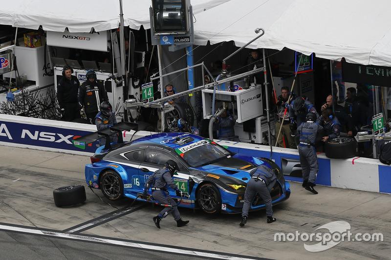 #14 3GT Racing Lexus RCF GT3: Scott Pruett, Ian James, Gustavo Menezes, Sage Karam, pit action