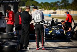 Graham Rahal, Rahal Letterman Lanigan Racing Honda talking with the team