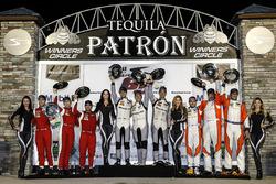 GTD podium: winners Jeroen Bleekemolen, Ben Keating, Mario Farnbacher, Riley Motorsports, second pla