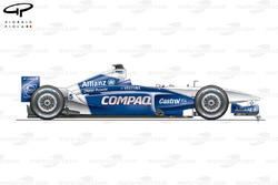 Vue latérale de la Williams FW23