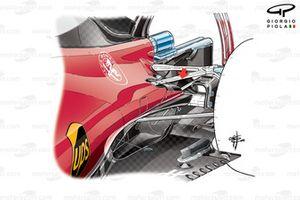 Новое отверстие выхлопной трубы (показано стрелкой) в задней части бокового понтона Ferrari SF16-H