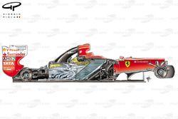 Vue latérale de la Ferrari 150° Italia, sans capot moteur et pontons
