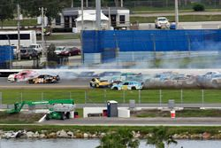 Crash: Michael Annett, JR Motorsports Chevrolet, Justin Allgaier, JR Motorsports Chevrolet, Tyler Re