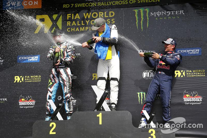 Podium: ganador, Johan Kristoffersson, Volkswagen Team Sweden, segundo, Andreas Bakkerud, Hoonigan R