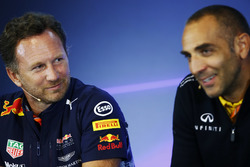 Christian Horner, Team Principal, Red Bull Racing, Cyril Abiteboul, Managing Director, Renault Sport F1 Team, in the FIA Press Conference