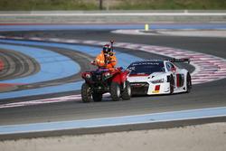 #75 ISR, Audi R8 LMS: Filip Salaquarda, Clemens Schmidt, Frank Stippler get back to pitlane with quad