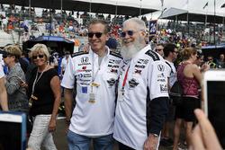 David Letterman, Rahal Letterman Lanigan Racing co-owner and Brian Williams