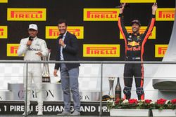 Podium: Mark Webber, Channel 4 F1, interviews race winner Lewis Hamilton, Mercedes AMG F1, third pla