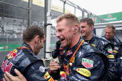 The Red Bull Racing team celebrate the third place finish of Max Verstappen, Red Bull Racing